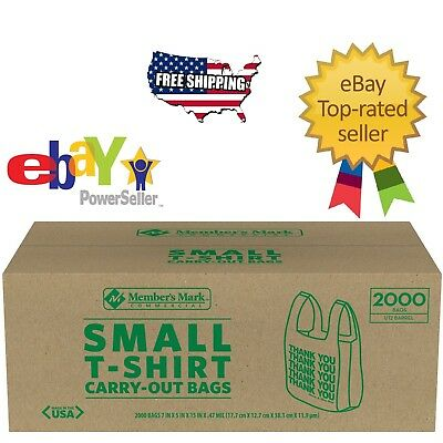 Member's Mark Small T-Shirt Carry-Out Bags White Plastic Commercial Bag 2000 ct.