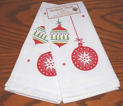 "Vintage Style  ""christmas Ornaments"" Reproduction Dish Towels (Set Of 2) New!"