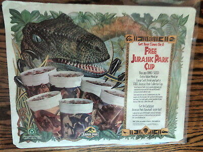 McDonald's 1993 Jurassic Park Cup Tray Liner