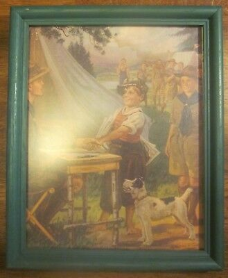 """Vintage Framed Boy Scouts BSA Print """"HE""""S A GOOD SCOUT"""" By Hy Hintermeister"""