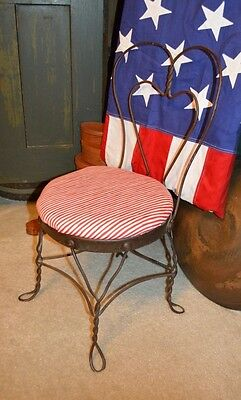 """Vtg 25"""" Antique Ice Cream Parlor Sweetheart Childs Chair Twisted Metal Iron Seat"""