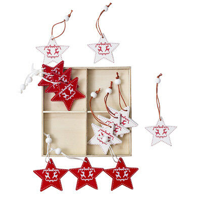 Blesiya 12pcs Christmas Star Wooden Hanging Tags in Box Red and White