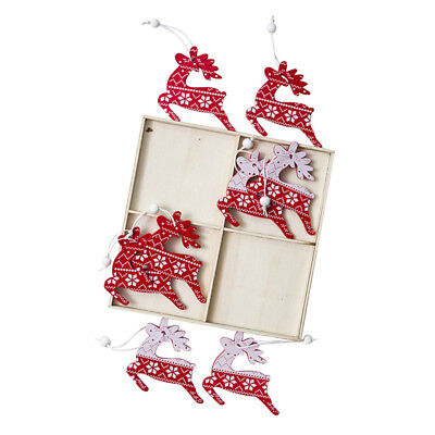 Blesiya 12pcs Christmas Elk Wooden Chips Gift Tags in Box Tree Ornament