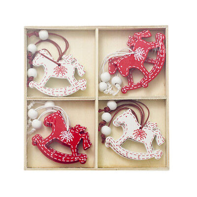 Blesiya 12pcs Christmas Horse Wooden Hanging Tags in Box Red and White