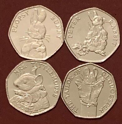 2018 Set Beatrix Potter 50p Coin Flopsy Gloucester ,Peter Rabbit Littlemouse UNC