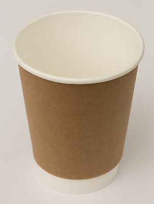 8 oz Double Wall Kraft Paper Coffee Cups x 500