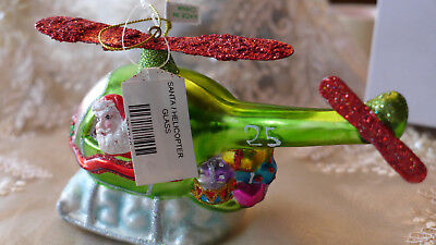 Christmas Ornament Tree Helicopter Glass Colorful Decor Aviation Flying w/Box 25