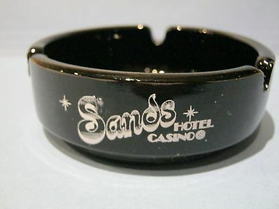 Sands Hotel Casino Ashtray Reno Nevada Black Glass Round Vintage Ash Tray
