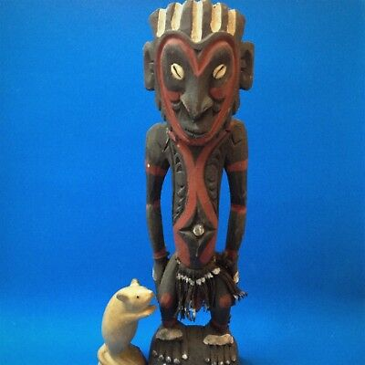 Papua New Guinea - Sepic Carved Wood Artifact Male Figure - 41cm T, Cowrie Eyes