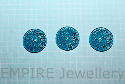 2 x Blue & White Floral 12x12mm Glass Dome Cabochon Cameo Flower
