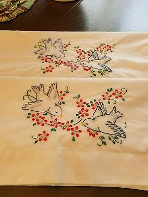 Hand Embroidered Bluebird Pillowcases. Wonderful Color