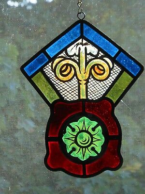 Architectural Salvage Antiq. Stained Glass, Grape Tendrils/Rosette, Late 1800's