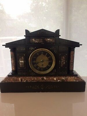 1880's French Black Slate and Marble Mantle Clock