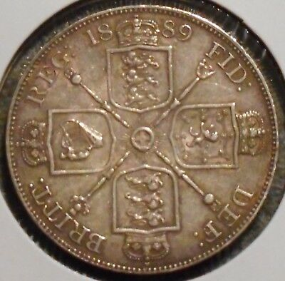 British Double Florin - 1889 - Rare - Queen Victoria - $1 Unlimited Shipping