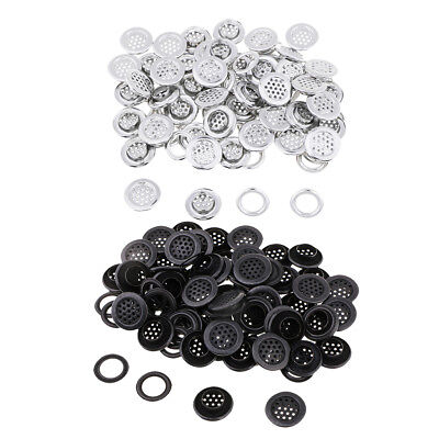 100 Pairs Silver Black Metal Eyelets with Washers for Clothing Accessories