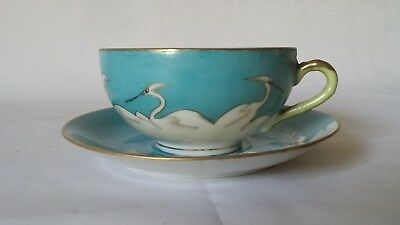 Vintage Japanese Hand Painted Made in Japan Crane Lusterware Tea Cup Saucer