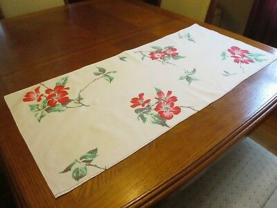 """Vintage Cotton Table Runner with Red Flowers - 16"""" x 36"""""""