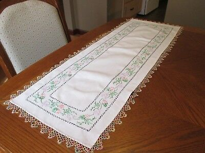 """Vintage Cotton Dresser Scarf with Embroidered Flowers - 12"""" x 35"""""""