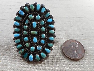 LARGE old Zuni sterling silver ring with natural turquoise stones