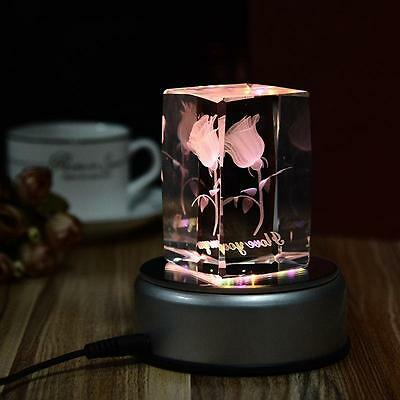 4inch Unique 360` Rotating Crystal Display Base Stand 7 LED Light 3 model switch