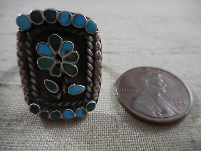 OLD Zuni natural turquoise channel inlay ring likely DISHTA