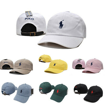 Adjustable Leather Strap Back Fine Embroidery Polo Cap Pony Logo Baseball Hats