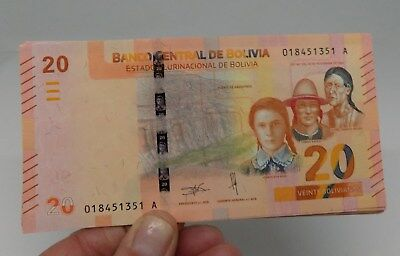 20 BOLIVIANOS Bs YEAR 2018  BANK NOTE UNCIRCULATED UNC NEW BOLIVIA