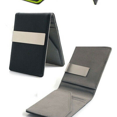 Ultra-Thin Silver Money Clip Synthetic Leather Card Holder Bifold Mini Wallet