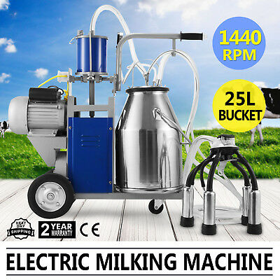 Electric Milking Machine For Farm Cows W/Bucket Automatic Piston 12Cows/hour
