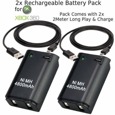 2x Rechargeable Battery Pack USB Charger Cable For Xbox 360 Wireless Controller
