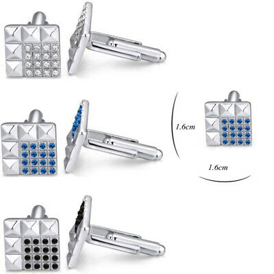 Square Lattice Rhinestone Crystal Silver Mens Wedding Shirt Cufflinks Cuff Links