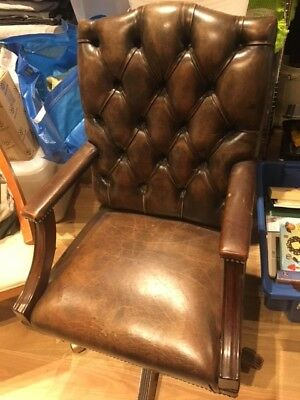 Vintage Gainsborough-style solid wood and leather rolling desk chair