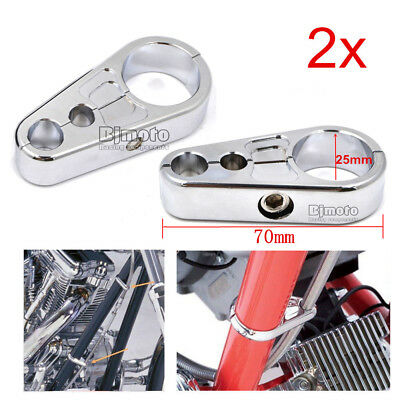 """2x 1"""" 25mm Frame Handlebar Clutch Cable Brake Line Clamp Clip For Harley Bikes"""