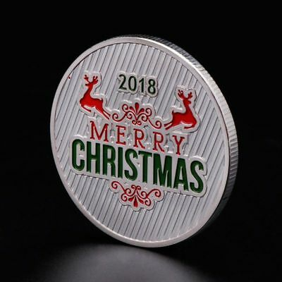 Christmas Commemorative Coin Santa Claus Deer New Year Collection Craft Silver