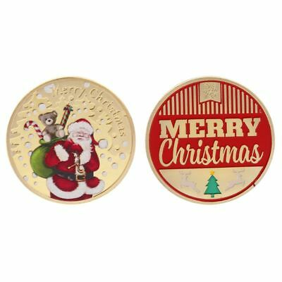 Christmas Commemorative Coin Santa Claus Present Souvenir New Year Crafts Gifts