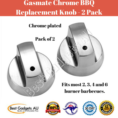 Pack of 2 Gasmate Chrome Plated BBQ Burner Replacement Knob Home Outdoor Camping