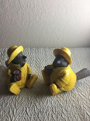 Two Carved Sparrow In Raincoat Figurine Spring Decor Bird