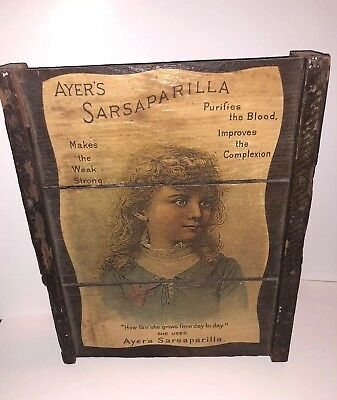 Ayers Sarsaparilla Blood Purifier Patent Medicine TraDe Card On Distressed Wood