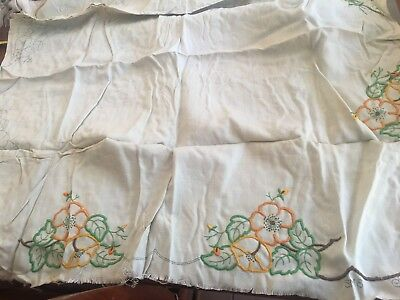 vintage Semco 36x36 inch SM8 Flowers linen unfinished embroidered tablecloth