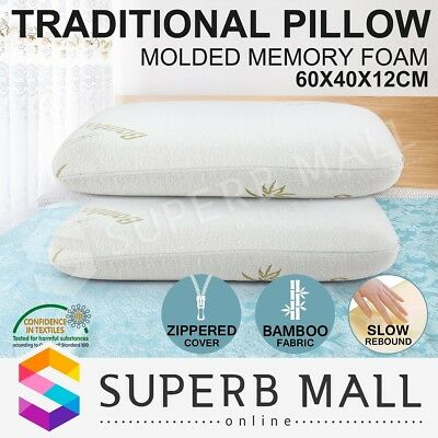 ClassicQueen Size 2 x BAMBOO Memory Foam Pillow Fabric Cover Molded Bedding