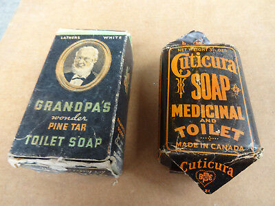 1800's ANTIQUE Vintage CUTICURA SOAP and GRANDPA'S WONDER SOAP BAR - Pine Tar