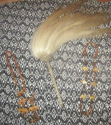 """Vintage African Animal Hair Fly Whisk with Basket Weave Handle 29"""""""