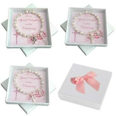 Girls Christening Bracelet with Cross Charm. Gift for Daughter, Goddaughter etc