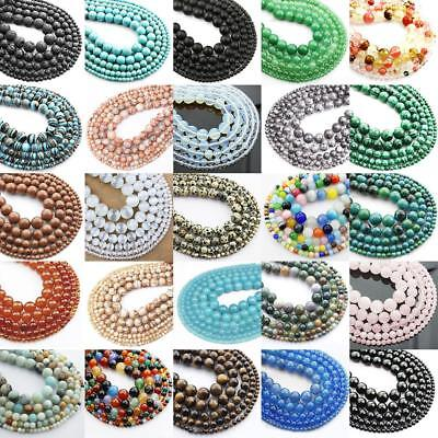 Natural Gemstone for DIY Craft Jewelry Pendant Making Beads Round 4/6/8/10/12mm
