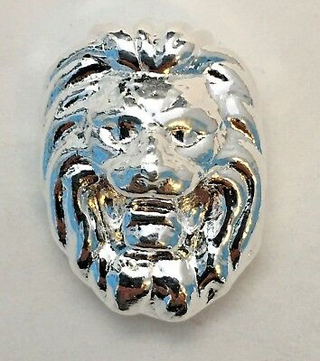 3D LION: 1 oz .999 Fine Solid Silver hand pour by YPS / Yeager's Poured Silver
