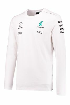 Mercedes AMG Petronas F1 Team Long Sleeve T Shirt Top White MENS – New OFFICIAL
