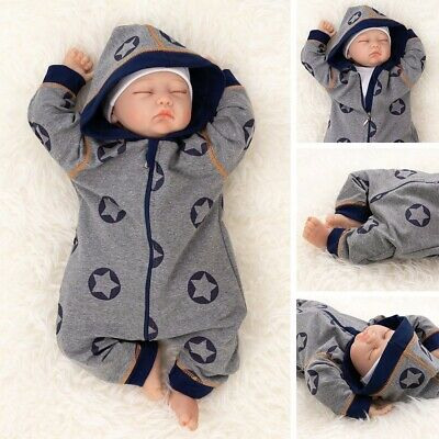 Baby Sweets Overall Strampler Jumpsuit grau blau Sterne mit Kapuze