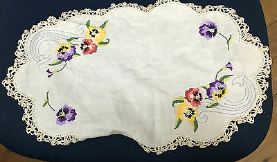 vintage embroidered pansies 1 large & 1 small (damaged) dressing table doilies