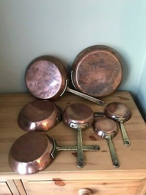 7 Graduated Brass And Copper Pans, Frying Or Saute Pans, Tin Lined?
