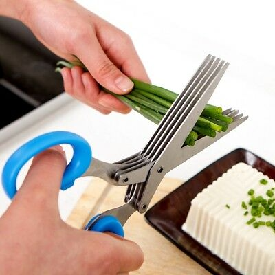 1Pcs Stainless Steel 5 Layers Blade Scissors Chop Herb Salad Kitchen Shears Tool